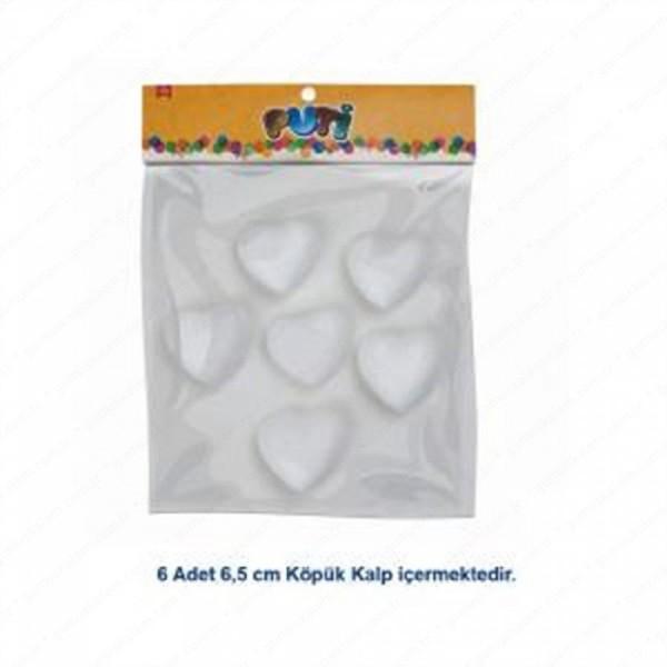 Puti Köpük Kalp 6,5Cm 6Lı