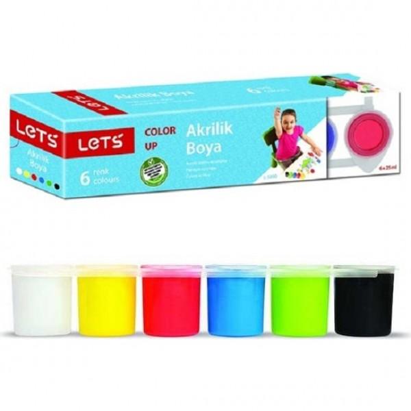 Lets 6 Renk Akrilik Boya Şişede 6x25 ml.
