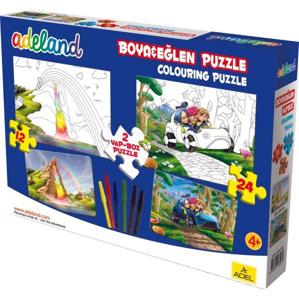 Adeland Boya & Eğlen 12 Ve 24 Parça Puzzle NET FİYAT