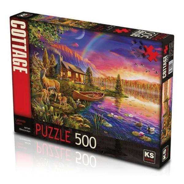Ks Games Lakeside Cabin 500 Parça Puzzle- Göl Kenarında Kulübe