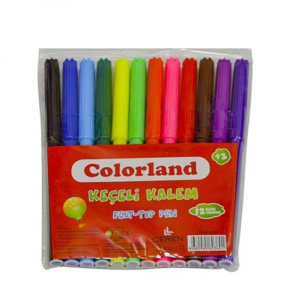 Colorland Keçeli Kalem 12'Li Pvc