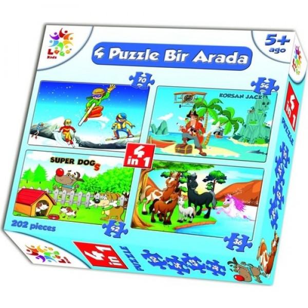 Laço Kids Eğitim Serisi Erkek 4 In 1 202 Parça Puzzle  NET FİYAT