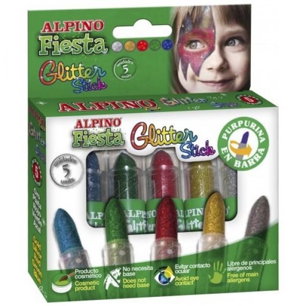 Alpino Fiesta Glitter 5 Renk Yüz Boyası (Stick)