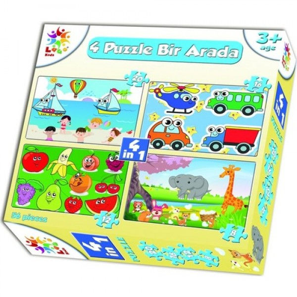 Laço Puzzle Anaokul Erkek 4 Lü 56 Parça Puzzle  NET FİYAT