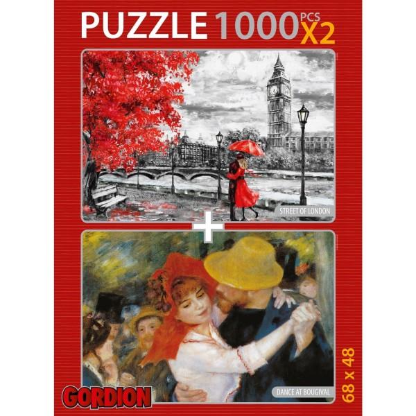 Gordion Street Of London & Dance At Bougival 2X1000 Parça Puzzle Takım NET FİYAT