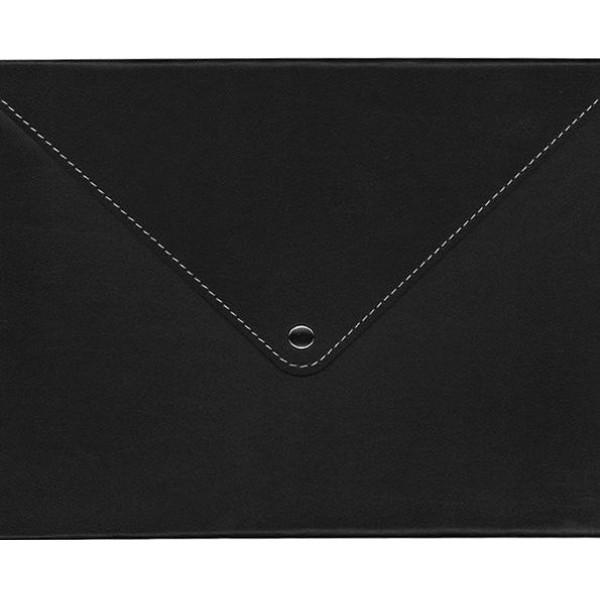 2K Suni Deri Çıtçıtlı A4 Zarf Çanta Siyah