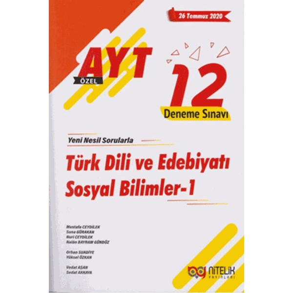AYT Özel Türk Dili ve Edebiyatı Sosyal Bilimler 1 - 12 Deneme Sınavı